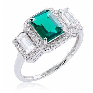 10k White Gold Emerald, Diamond, and White Topaz Ring (G-H, 12-13) - Green