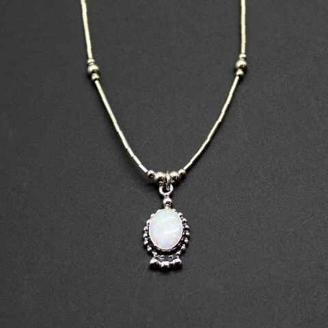 Handmade Set of 2 Oval Opal Pendant Necklace (India)