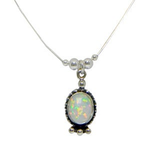 Set of 2 Handmade Oval Opal Pendant Necklace (India)