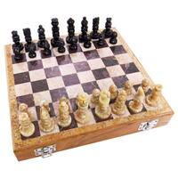 Handmade Case of 2 Carved Soapstone 10-inch Chess Sets (India) - Black