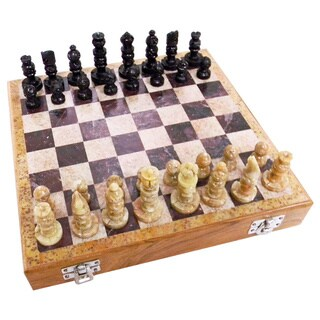 Handmade Case of 2 Carved Soapstone 10-inch Chess Sets (India)