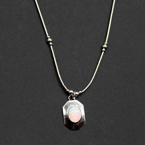Handmade Set of 2 Sterling Silver Luminous Opal Pendant Necklace (India)