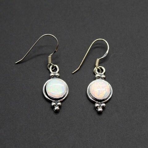 Handmade Set of 2 Sterling Silver Silvery Opal Dangle Earrings (India)