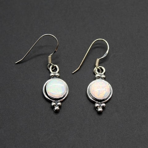 Set of 2 Handmade Sterling Silver Silvery Opal Dangle Earrings (India) - White