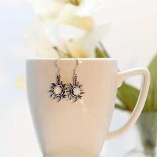 Set of 2 Handmade Sterling Silver Sun Face White Opal Earrings (India)