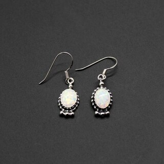 Handmade Set of 2 Sterling Silver White Opal Oval Dangle Earrings (India)