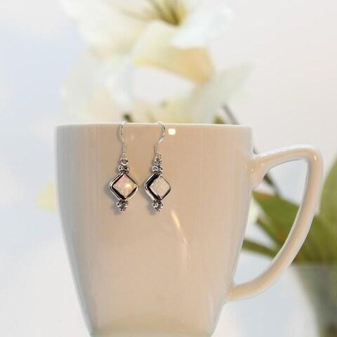 Handmade Set of 2 Sterling Silver Opal Earrings (India)