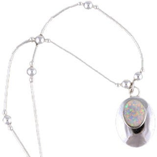 Handmade Set of 2 Sterling Silver White Opal Pendant Necklace (India)