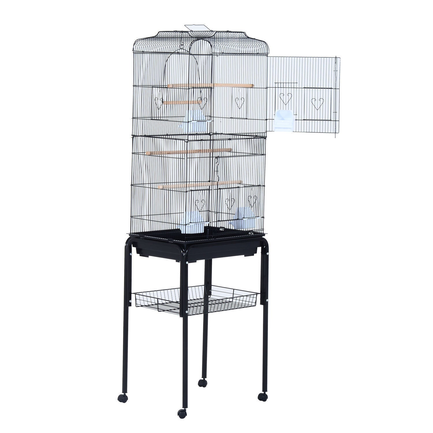 Pawhut 63-inch Bird Cage (Black), Size Small