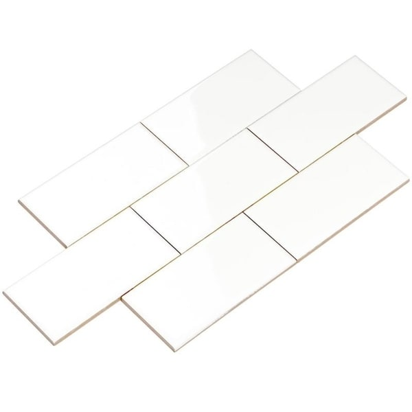 Giorbello White Ceramic 3x6 Subway Tiles (Case of 14.5 Sq Ft)