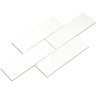 Giorbello White Ceramic 4x12 Subway Tiles (Case of 13 Sq Ft)