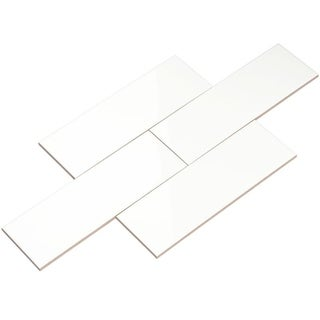 Giorbello White Ceramic 4x12 Subway Tiles (Case of 13 Sq Ft)