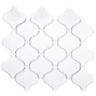 Giorbello White Porcelain Arabesque Tile Sheets (Set of 18)