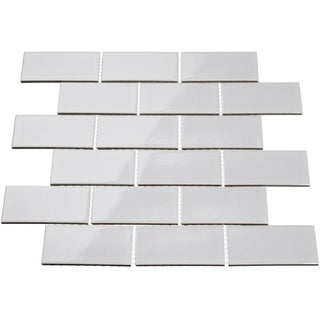 Giorbello Light Grey Porcelain Subway Tile Sheets (Set of 18)