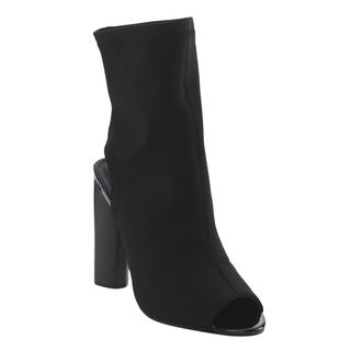 Bella Marie IC66 Women's Stretchy Cutout Stacked Chunky Heel Ankle Boots