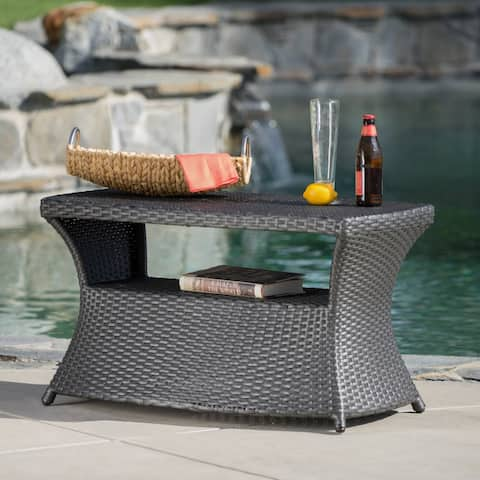 """Berkeley Outdoor Wicker Side Table with Umbrella Hole by Christopher Knight Home - 19.5""""H x 34""""W x 22""""D"""
