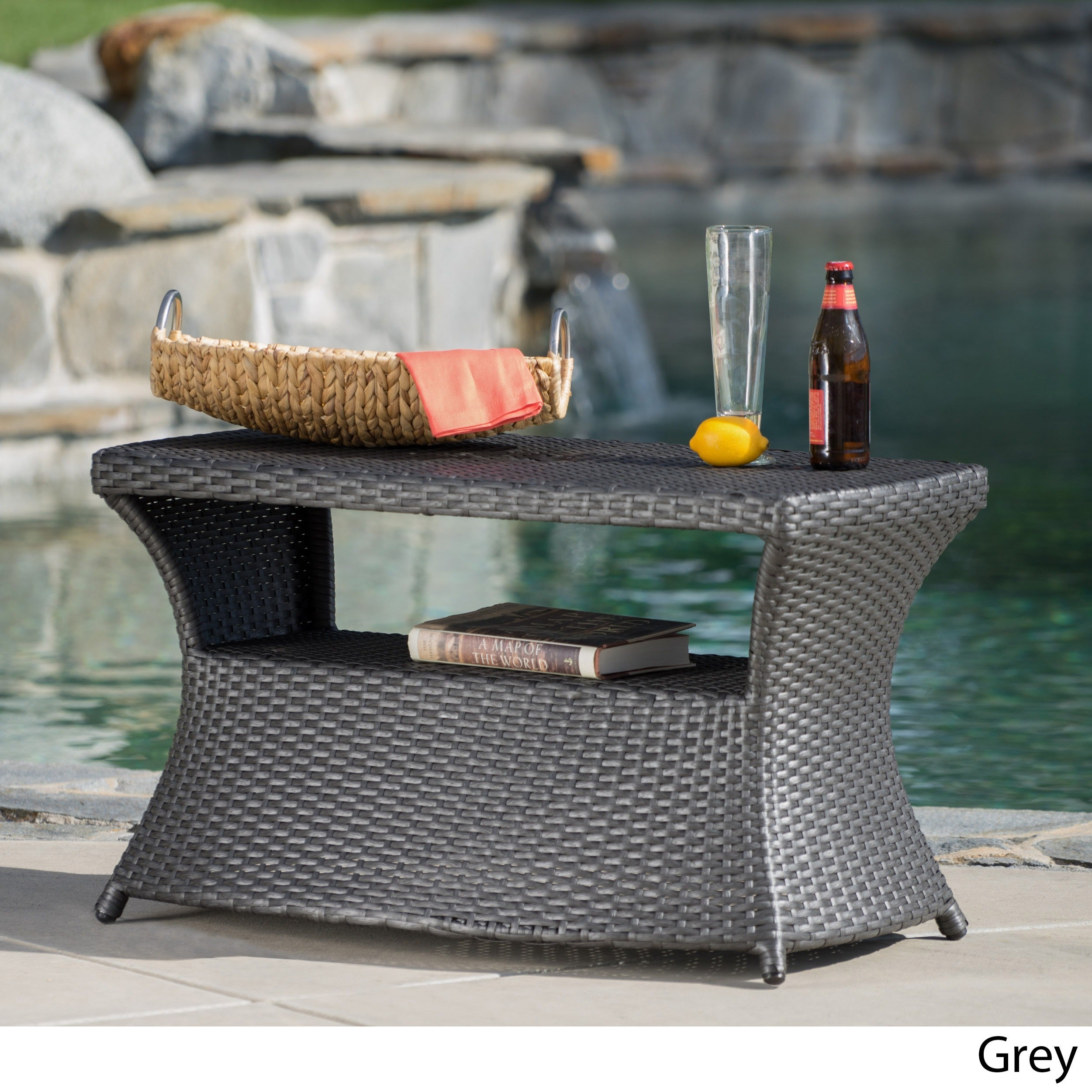 Berkeley Outdoor Wicker Side Table With Umbrella Hole By Christopher