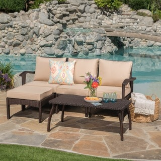 Honolulu Outdoor 5-piece L-Shape Wicker Seating Set with Cushions by Christopher Knight Home