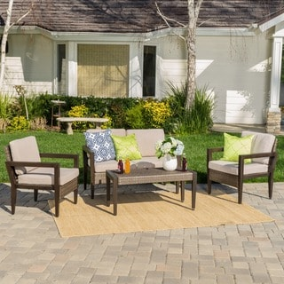 Croatia Outdoor 4-piece Wicker Chat Set with Cushions by Christopher Knight Home