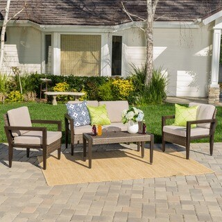 Croatia Outdoor 4-piece Aluminum Wicker Chat Set with Cushions by Christopher Knight Home