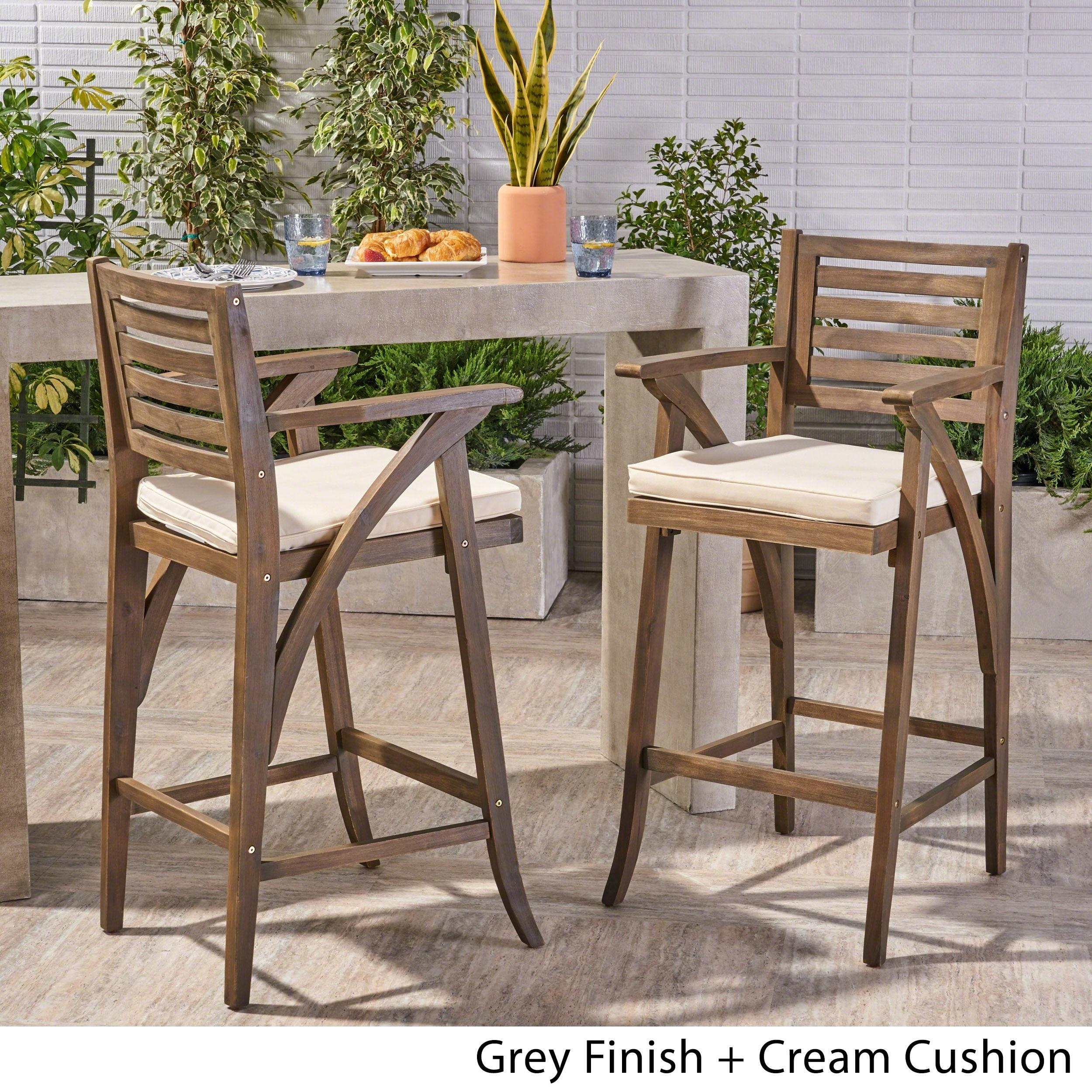 Hermosa-Outdoor-Acacia-Wood-Barstool-with-Cushion-Set-of-2 thumbnail 8