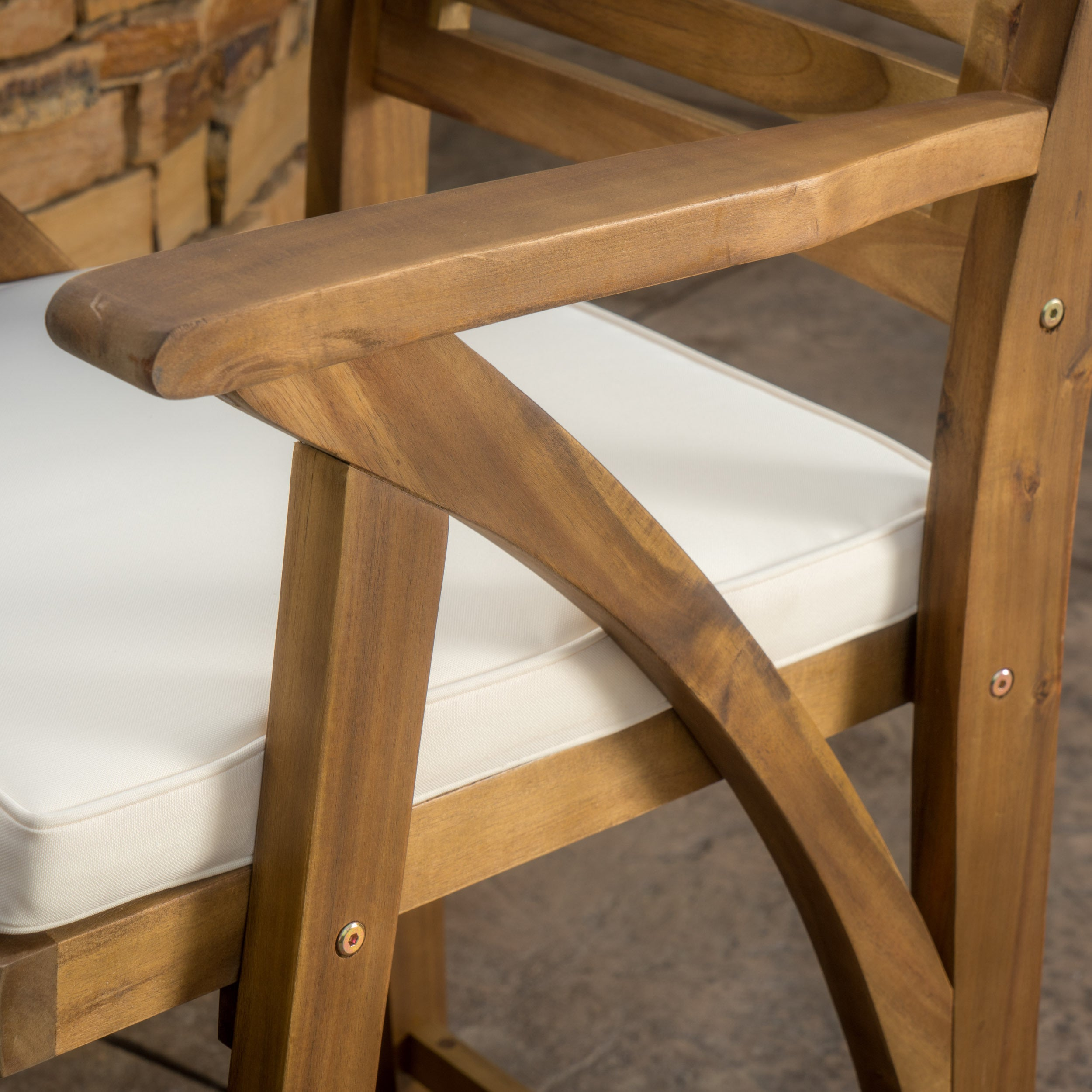 Hermosa-Outdoor-Acacia-Wood-Barstool-with-Cushion-Set-of-2 thumbnail 10