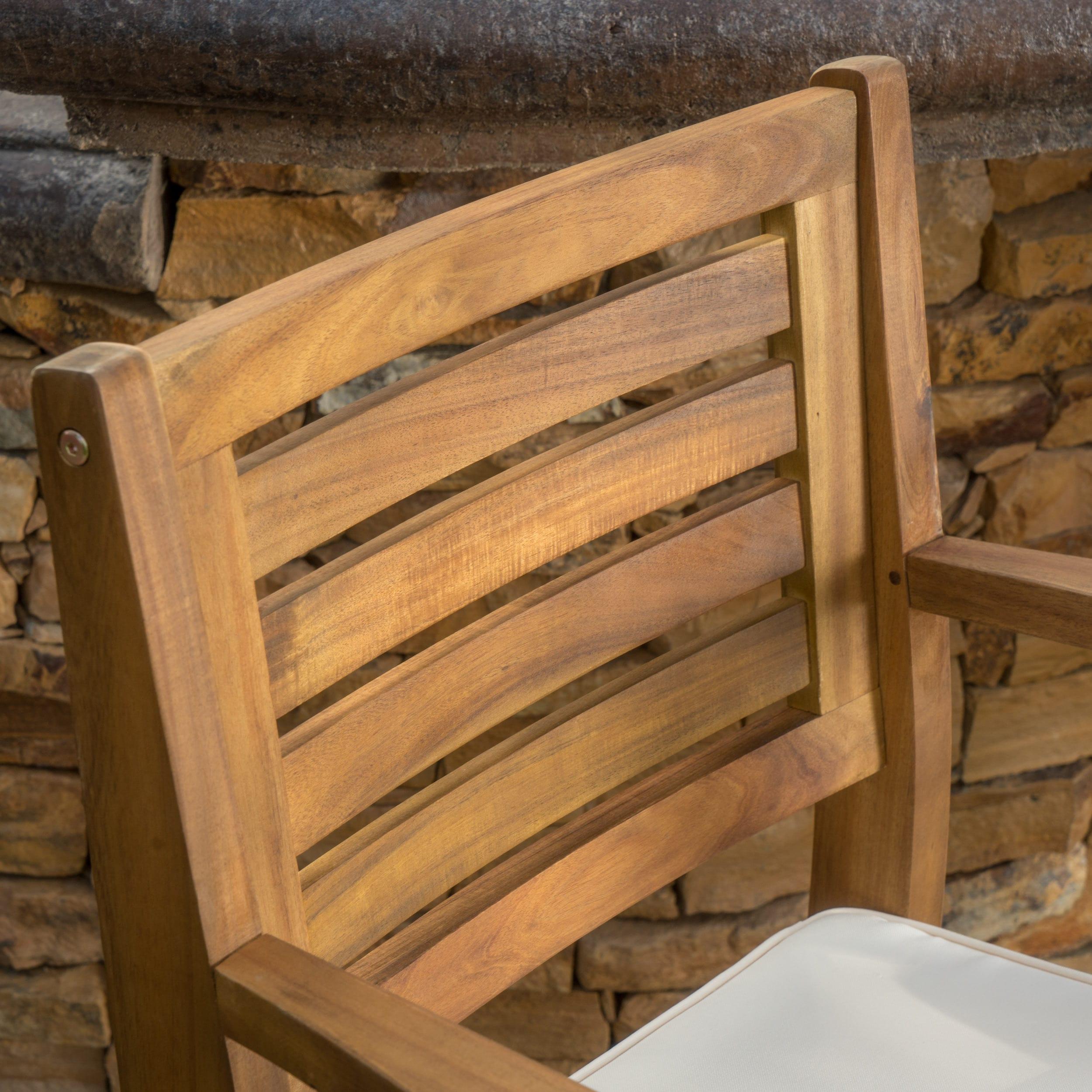 Hermosa-Outdoor-Acacia-Wood-Barstool-with-Cushion-Set-of-2 thumbnail 9