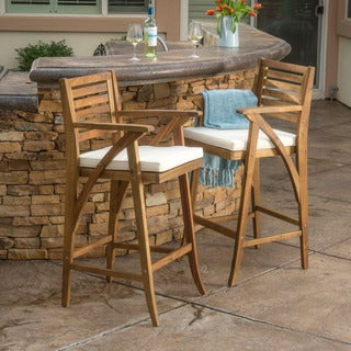 Hermosa Outdoor Acacia Wood Barstool with Cushion (Set of 2) by Christopher Knight Home