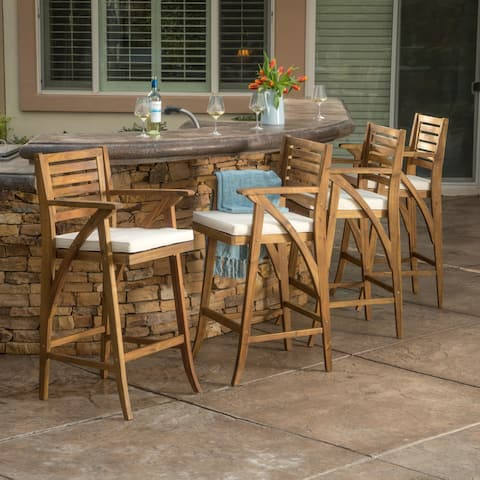 Hermosa Acacia Wood Cushioned Bar Stool (Set of 4) by Christopher Knight Home