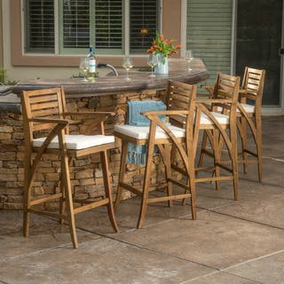 Hermosa Outdoor Acacia Wood Barstool with Cushion (Set of 4) by Christopher Knight Home|https://ak1.ostkcdn.com/images/products/14207629/P20801677.jpg?impolicy=medium