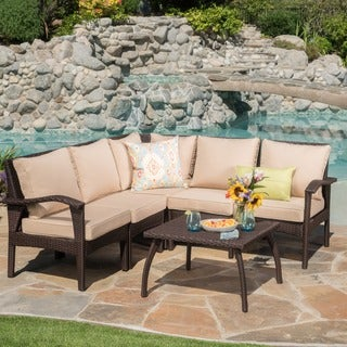 Honolulu Outdoor V Shape Wicker Seating Set With Cushions By Christopher  Knight Home