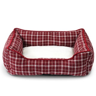 Fluffy Paws Classic Pet Plaid Bed (Fits Pets Up to 25lbs)