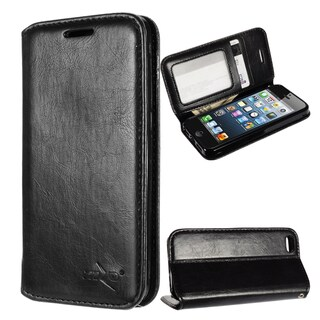 Insten Black Stand Folio Flip Leather Wallet Flap Pouch Case Cover for Apple iPhone 5/ 5S/ SE