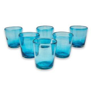 Handmade Set of 6 Blown Glass Juice Glasses, Aquamarine Bubbles (Mexico)