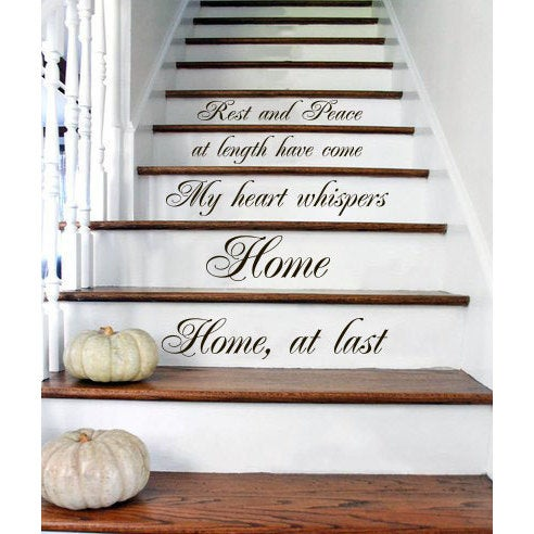 Shop Stair Quotes Stairway Quote Rest And Peace Home Family Home Decor Staircase Sticker Decal size 33x45 Color Black - Free Shipping Today - Overstock - ...  sc 1 st  Overstock.com & Shop Stair Quotes Stairway Quote Rest And Peace Home Family Home ...