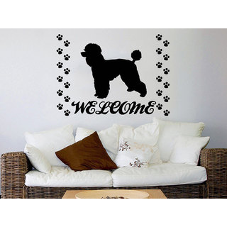 Dog Welcome Grooming Salon Sticker Pet Shop Animals Decor Sticker Decal size 33x39 Color Black