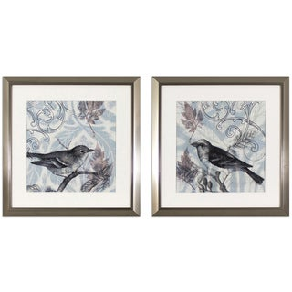 Set of 2 Damask Birds Stainless Steel Finish Framed Wall Art