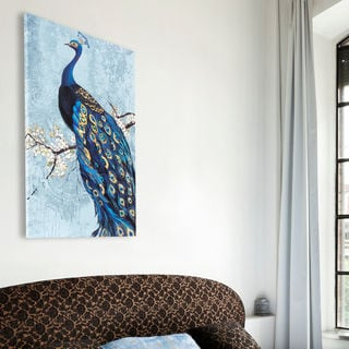 Decor Therapy Ornate Peacock Stretched Canvas Wall Art