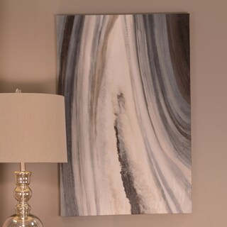 Decor Therapy 'Grey Agate' Stretched Canvas Wall Art with Brushstroke Texture