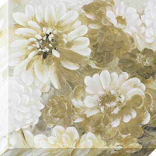 'Dreamy Golden Flowers' Stretched Canvas Wall Art