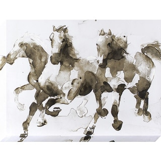 Running Wild Horses Stretched Canvas Wall Art with Paint Accents