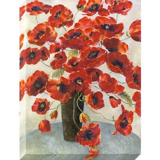 Decor Therapy 'Crimson Flowers in Vase' Stretched Canvas Wall Art with Paint Accents