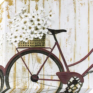 Decor Therapy 'Vintage Bike With Flowers' Stretched Canvas Art With Paint Accents