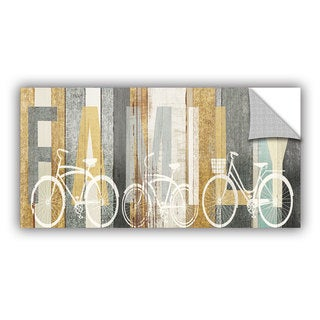 ArtAppealz Michael Mullan's Beachscape Bicycle Family Gold Neutral, Removable Wall Art Mural