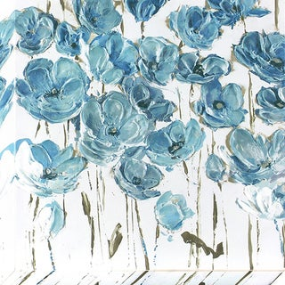 Decor Therapy Dusty Blue Poppies Stretched Canvas Wall Art
