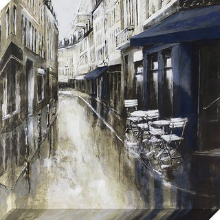 The Rue Street Scene Stretched Canvas Wall Art with Paint Accents