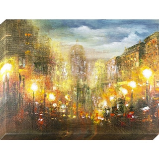 Decor Therapy 'Evening Lights' Oil-painted Canvas Wall Art