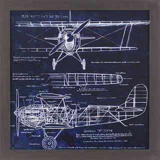 Aeroplane Blueprint Black & Gold Woodgrain Framed Wall Art
