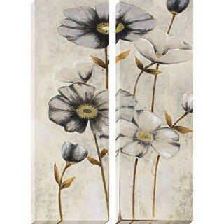 Decor Therapy 'Vintage Grey Poppies' Oil-painted Canvas (Set of 2)