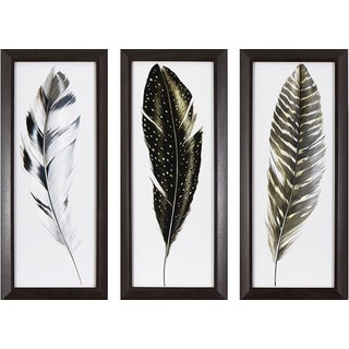 Decor Therapy Framed Watercolor Feathers Wall Art Set (Pack of 3)
